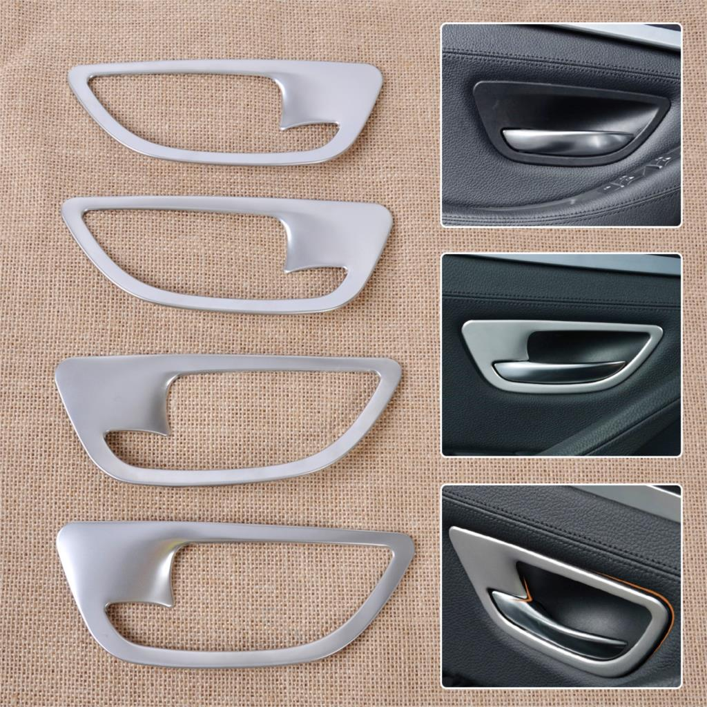 DWCX 4pcs Chrome Car Interior Door Handle Bowl Frame Molding Cover Trim for BMW 5 Series F10 F18 2011 2012 2013 2014 2015 2016 6pcs abs chrome interior inner door side handle bowl cover trim for 2011 2012 2013 2014 2015 2016 porsche cayenne car styling