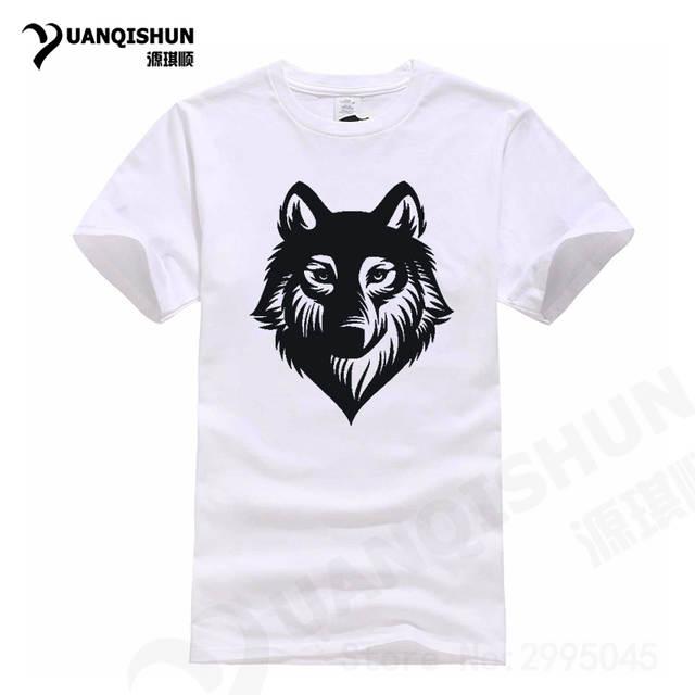 c880c336694 placeholder High Quality Wolf Head Silhouette Cartoon Animal Printing T  Shirt Fashion Brand Male T-shirt