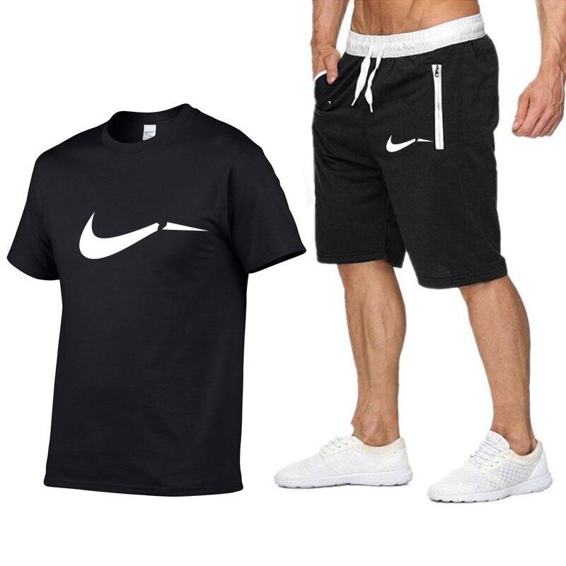 d55efa52 Conjunto de Jogging para hombre, camiseta de manga corta, pantalones  cortos, chándal de 2 piezas, ...