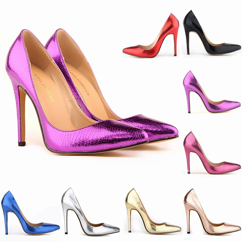 Women Pumps Fashion Sexy Pointed Toe Sweet Colorful Serpentine 11CM Thin High Heels Woman Nude Women's High-heeled Single Shoes
