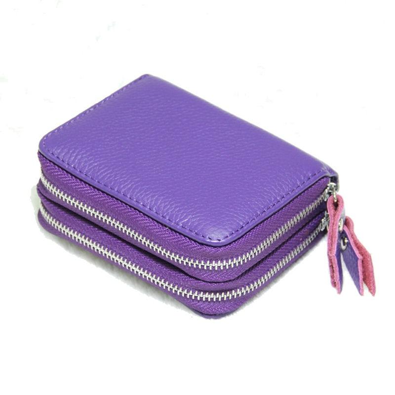 Купить с кэшбэком New Fashion Genuine Leather Man Women ID Card Holder Wallet High Capacity Credit Card Holders For Female Coin Purses Card Case