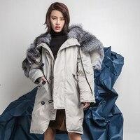 Зимняя куртка, пальто Женская парка 2018 Мода природных Настоящее большой Silver Fox Мех животных воротник длинный куртка женская куртки пуховики