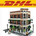 2017 LEPIN 15017 4616Pcs City Street Creator Starbucks Bookstore Cafe Model Building Kits Blocks Bricks Toys For Children Gift