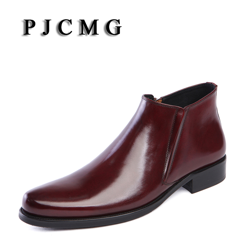 PJCMG primavera/verano botas punta puntiaguda negro/rojo transpirable Bullock patrones Oxford puntiagudos Zapatos de vestir para hombres botas de tobillo    3