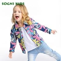 2017 Autumn Girls Denim Jacket For Baby Girls Flower Fashion Windbreaker Children Clothing Outerwear Kids Outfit