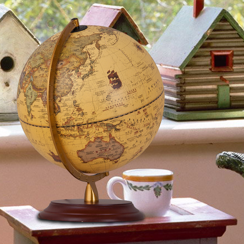 9Inch Antique Globe Table <font><b>Lamp</b></font> Desktop <font><b>Decor</b></font> Study Teaching Earth Globe World Map Light Kids Room <font><b>Lamp</b></font> Geography Gifts Wood Base