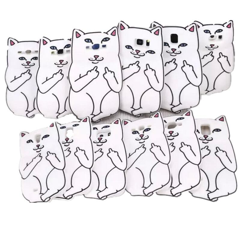 Middle Finger Cat White Cat Pocket Cat Case Soft Silicon Case For Samsung Galaxy A5 A510 A7 A710 J1 J5 J7 2016 Phone Capa Cover