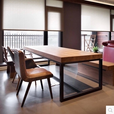 American Country Wrought Iron Dining Tables Loft Raw Wood Tables