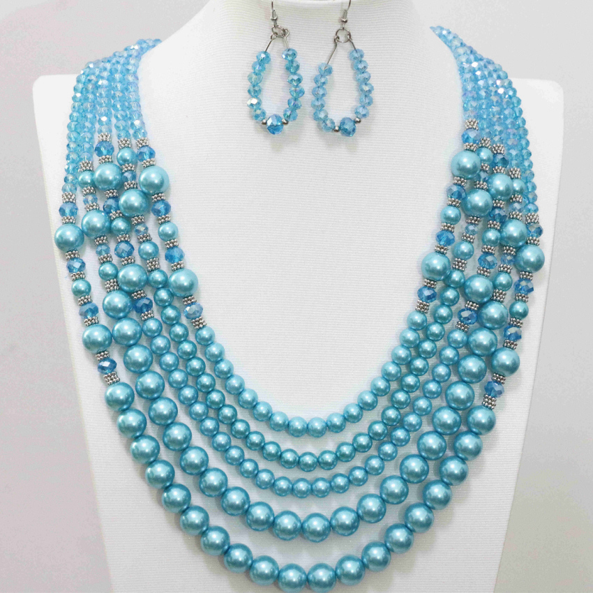 5rows necklace earrings sky blue simulated-pearl shell glass beads original elegant jewelry set for women jewelry set B983-14