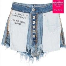 Ins hot sale negative design outer wear jean shorts female 2