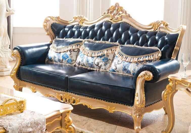 Европейский стиль диван королевская мебель диван набор с верхним зерном итальянский кожаный диван для кресло без подлокотников только