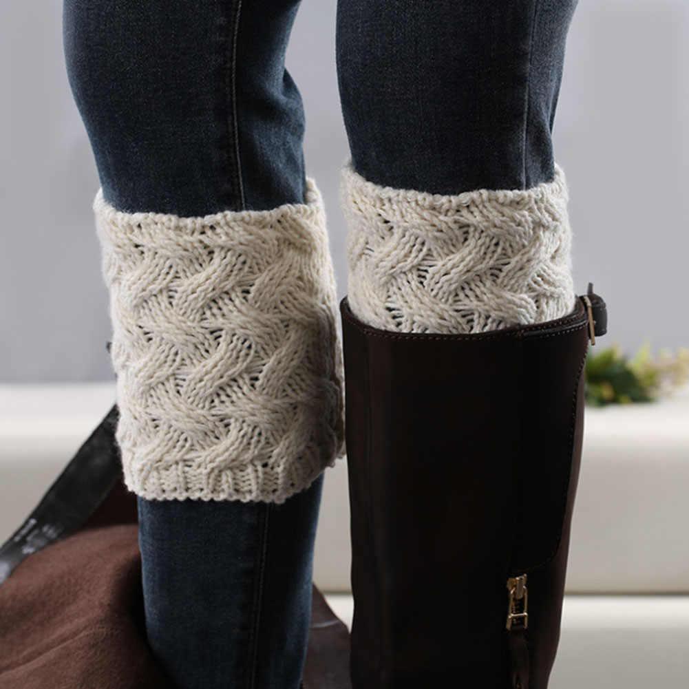 7c364304cf4 ... New Fashion Women Leg Warmers Knit Boot Cuffs Crochet Ladies Winter  Thick Legwarmers Handmade Boot Socks ...