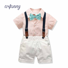 1 2 3 4 Y Boys suits Baby handsome summer clothes boy British wind suit children bow tie shirt bib sets Kids Wind Birthday Set