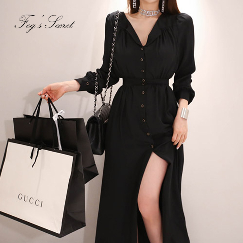Big size black dress for women sexy V neck button long sleeve plus size  dress for 47eeec74d512