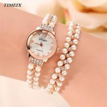 Marca de relojes de lujo mujeres duoya crystal joyería de perlas de cristal de cuarzo reloj de las señoras relojes mujeres viste el reloj de acero, diciembre 29