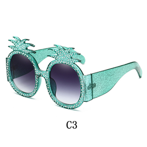 Image 5 - لينتر 2019 موضة جديدة مضحك تصميم غريب نظارات شمسية عالية الجودة الماس الأناناس نظارات شمسية للنساء شحن مجاني
