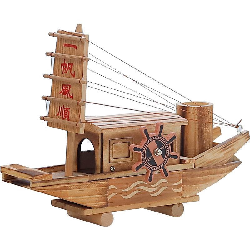 Creative Wooden Ship Model Music Box Decoration Multi-Function Home Living Room Study Desktop Decoration Student Birthday Gifts image