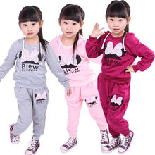 2016 Autmn Baby Girls Kids Long Sleeve Bowknot Hoodies + Long Pant Sportswear Clothing Sets Outfit 2-6T