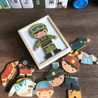Candywood Wooden Magnetic Puzzle Set Cartoon People Doctors Policemen Change Clothes Educational Puzzle Box Toys For