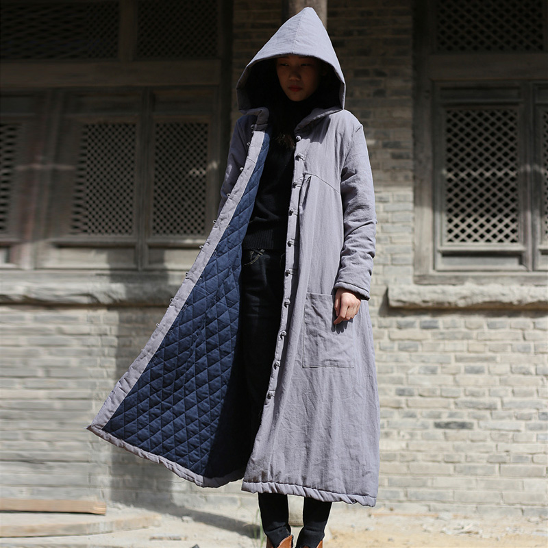Johnature Women Hooded   Parkas   Pockets Button Vintage Coat 2018 Winter New Cotton Linen Loose Thick Warm Women Clothes   Parkas
