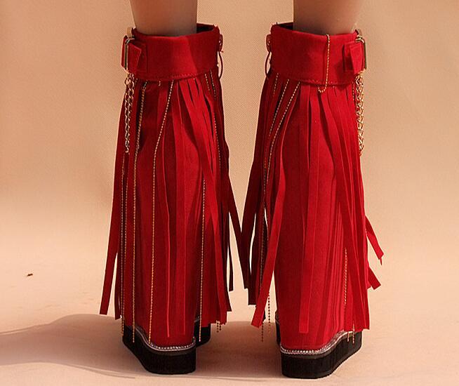 Polonais Talons Coréen Nouveau Style Croissante Haute Bottines Automne Noir Casual rouge Hiver Terne Concis Chaussures Hauteur Gland Femmes Doux pUSMVz