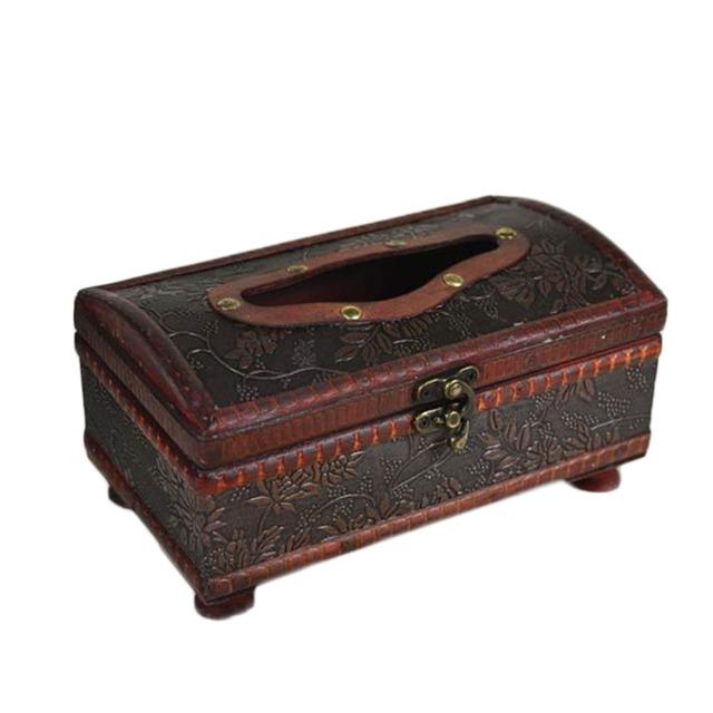 1Pc 21*12*11CM Elegant Crafted Wooden Antique Handmade Old Tissue Box Antique Tissue Box