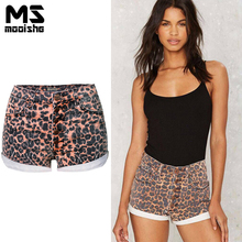 Mooishe Summer Leopard High Waisted Jean Shorts For Women Single breasted Cuffs Sexy Denim Shorts