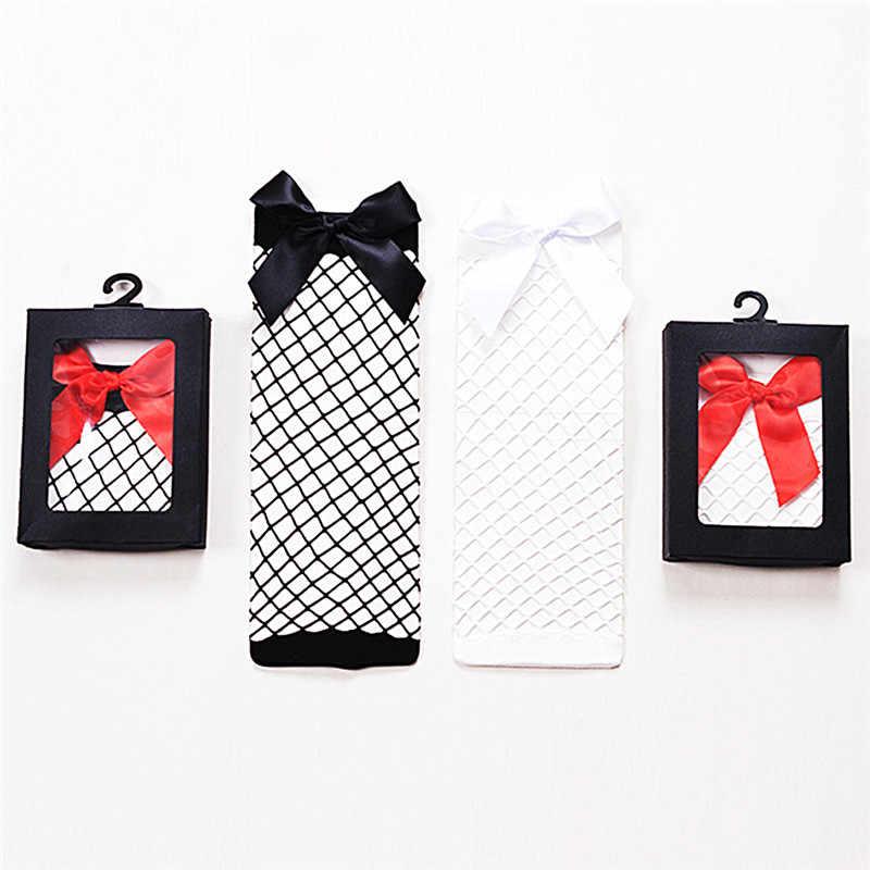1 زوج المرأة ربطة القوس فيونكة شبكة الدانتيل شبكة السمك Sockm قصيرة أبيض/أسود/أحمر كشكش كبير شبكة صيد السمك الكاحل عالية جورب