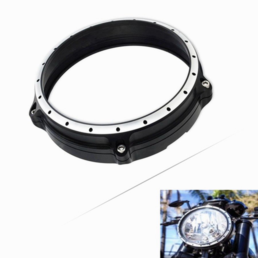 For BMW R Nine T 7 Headlight Headlamp Head Light Lamp Bezel Trim Ring 2014 2015 2016 2017 Motorcycle Accessories CNC Aluminum rsd motorcycle 5 hole beveled derby cover aluminum for harley touring flh t 2016 2017 for flhtcul and flhtkl 2015 2016 2017