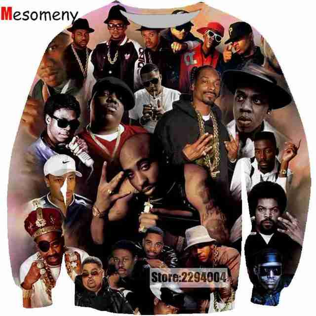 Mesomeny Character Wallpaper Men Women3D Print 2pac Tupac Shakur Sweatshirt Hoodies Long Sleeve Casual Pullover Clothing R3411