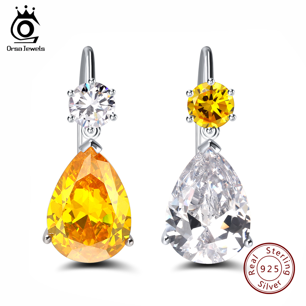 ORSA JEWELS Genuine Sterling Silver 925 Women Earrings Water Drop Yellow Clear Shinny Trendy Wedding Female Jewelry SE45