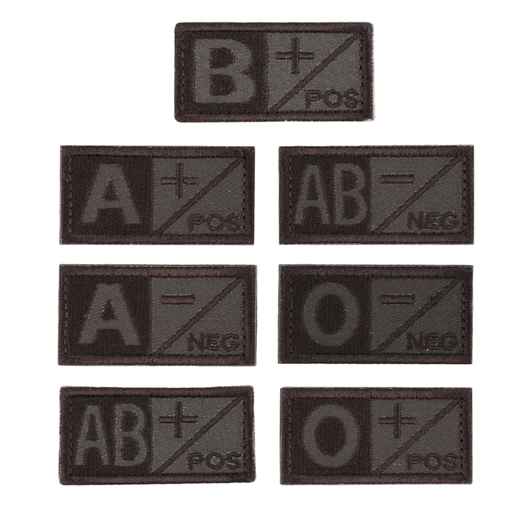 3D Embroidered Rectangular Sew-On Style Blood Type Patch A/B +POS NEG Coyote Tan OD Green Available Patch Cloth Hot