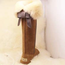 women's warm new genuine leather ultra high knee length leather skirt back non slip snow boots