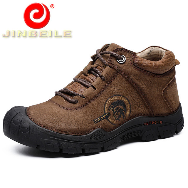 JINBEILE Genuine Leather Men Hiking Shoes Anti-collision Toe Outdoor Sport Shoes Men Slip Resistant Big Size Sneakers Men 38-46