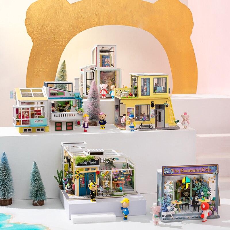 Robud DIY دمية مصغرة 4 أنواع دمية مع لطيف دمى مصغرة دمية خشبية مجموعات للأطفال الفتاة هدية-في منازل الدمى من الألعاب والهوايات على  مجموعة 1