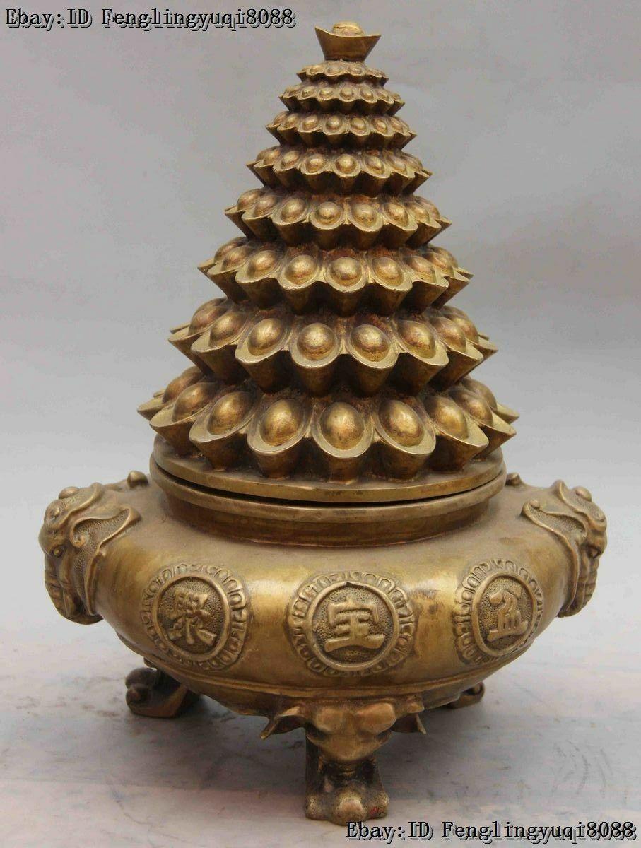 Chinese Folk Bronze Copper elephant treasure bowl YuanBao incense burner censerChinese Folk Bronze Copper elephant treasure bowl YuanBao incense burner censer