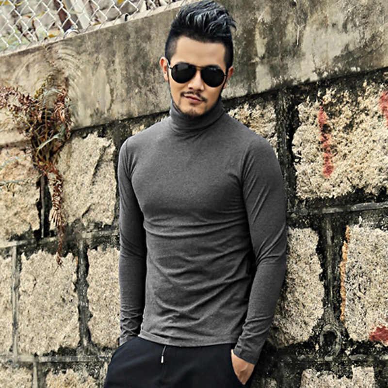 Осенняя и весенняя новая одежда, мужская однотонная приталенная рубашка из лайкры и хлопка с длинными рукавами, футболка с высоким воротником