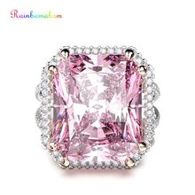 Rainbamabom Real 925 Solid Sterling Silver Pink Sapphire Gemstone Wedding Engagement Ring Fine Jewelry Wholesale Drop Shipping