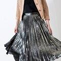 Metal Brillante Plisado Champán Suave Seda Brillante Satén de Las Señoras de Largo Maxi Faldas Para Mujer de Saia Midi Para 4 Temporadas