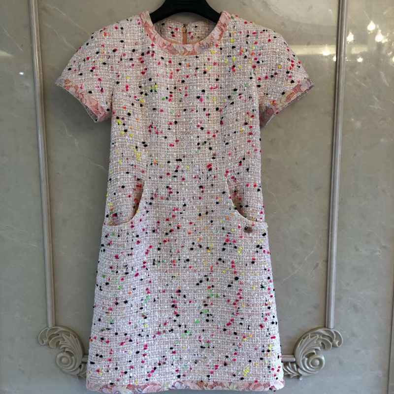 Elegant Party Dress Mini Women Summer O neck Zipper A line Dress For Ladies 2019 Fashion