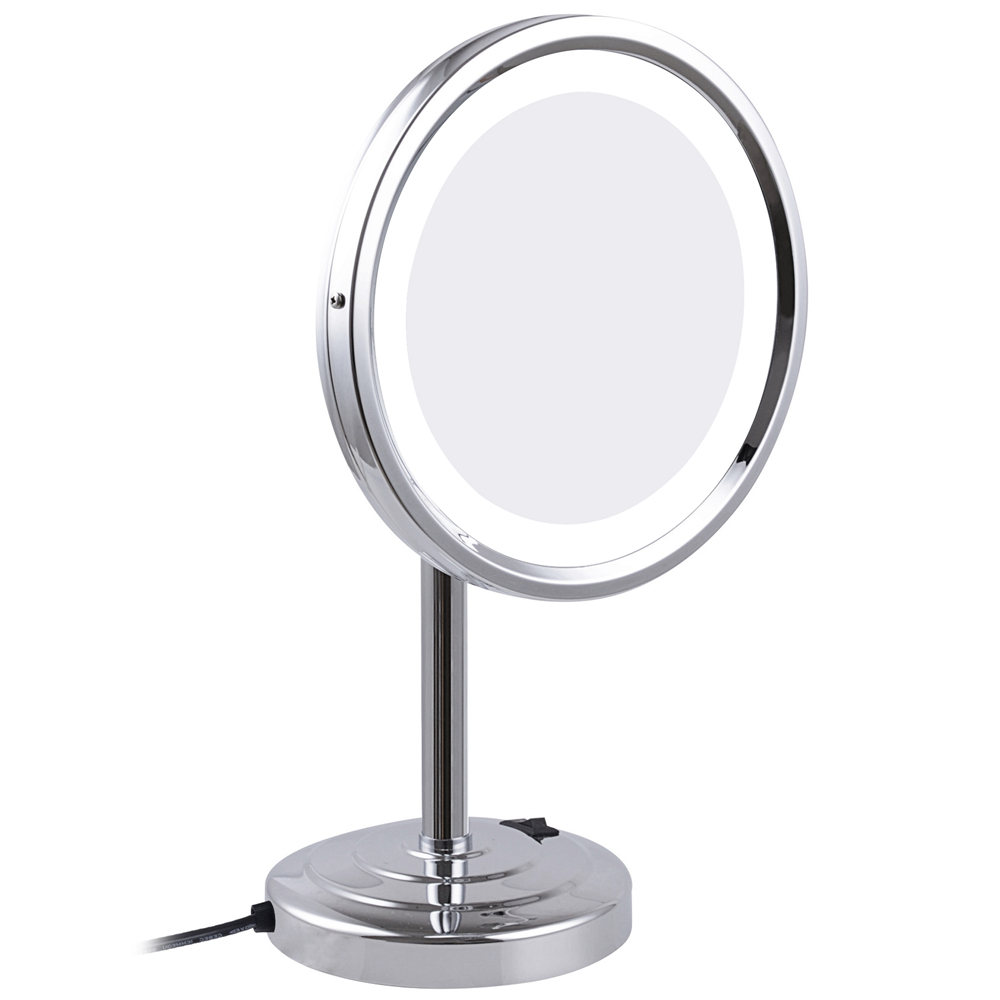 GuRun 8 Inch 10X Magnifying Tabletop Makeup Mirror with led Lights Round Brass Cosmetic Compact Mirrors Branded Chrome Finished alhakin 7 inch led table mirror silver chrome uv finish 10x magnification d710 makeup mirrors cosmetic beauty with ce approved