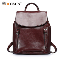 DUSUN Designer Backpack Women Fashion 2017 Genuine Leather Backpackgs Female Vintage School Bags Student Black Color