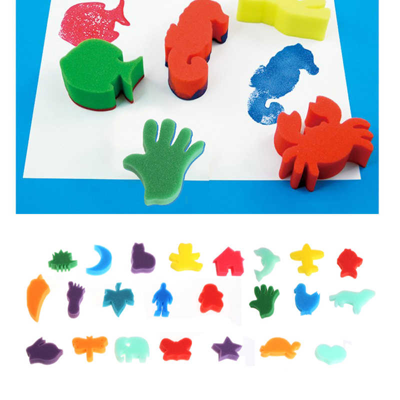 24Pcs Sponge Set Children Kids Art Craft Painting DIY Toy Home Education Toy