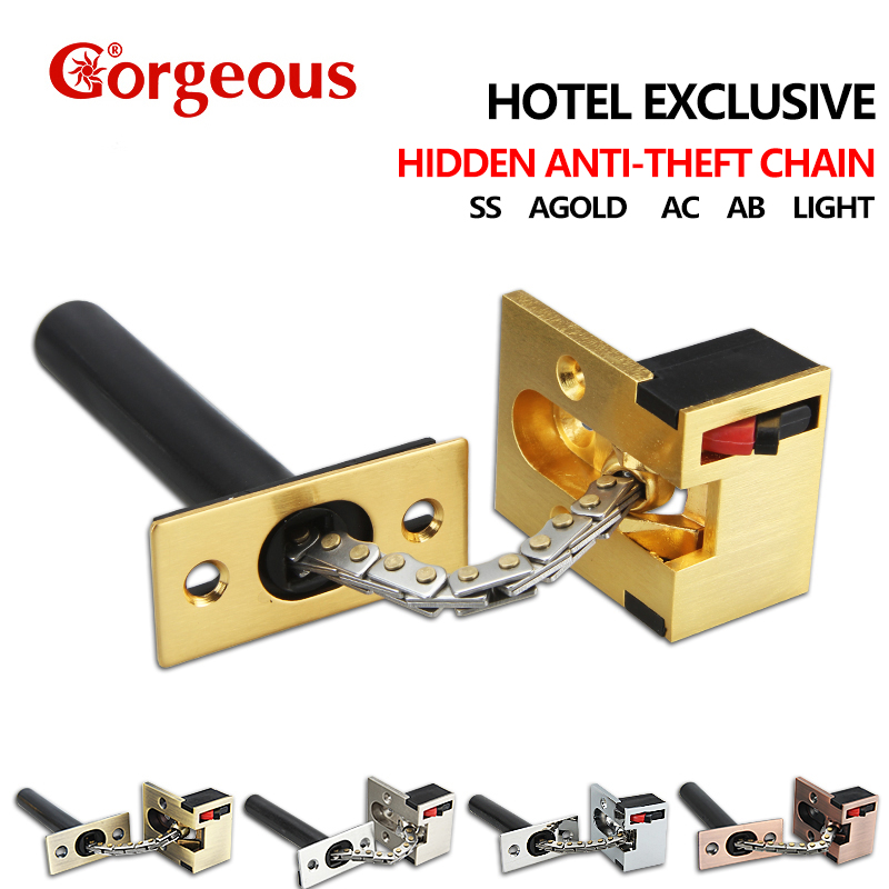 Gorgeous Hotel hidden security chain safety chain invisible anti-theft buckle door bolt concealed door chain hardware accessorie