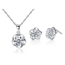 ФОТО top quality aaa+ cubic zirconia cz flowers stud earrings chain pendant necklace jewelry sets party gift for children kids girls