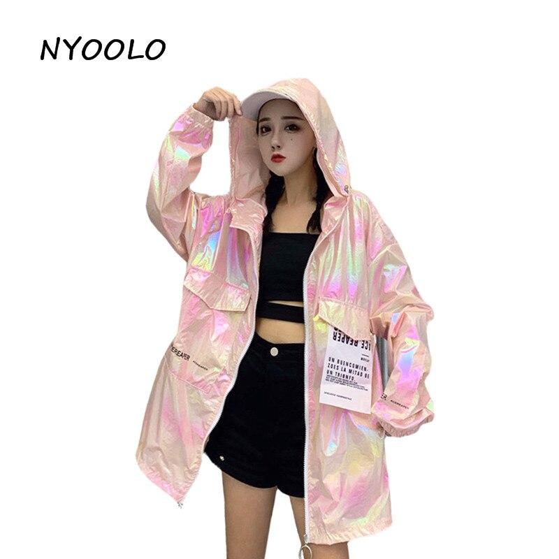 NYOOLO Harajuku Style Colorful Thin Sunscreen Coat Summer Streetwear Big Pocket Long Sleeve Zipper Hooded Jacket Women Outerwear
