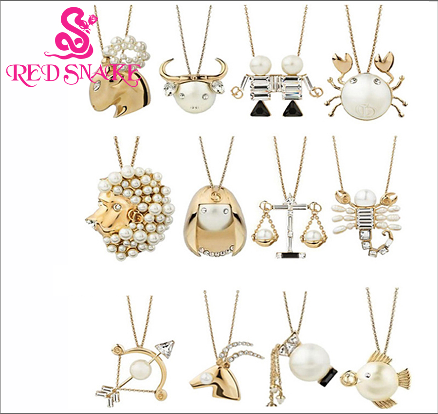 RED SNAKE Brand Product The Twelve Zodiac Horoscope Signs ,12 Constellations Fashion Golden simulated pearl Pendant Necklace