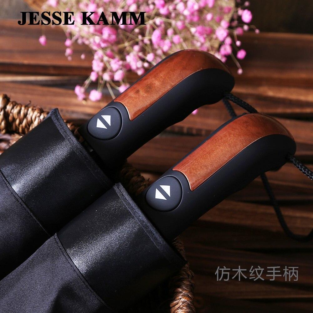 Moda negro totalmente automático paraguas comercial más tamaño 10 viento paraguas plegable paraguas Doble