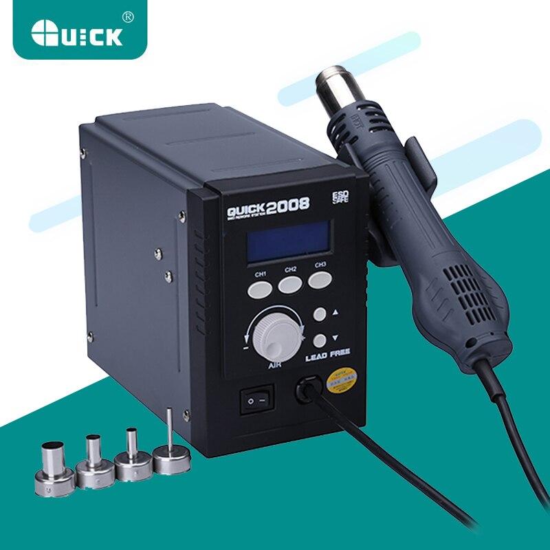 QUICK 2008 110V/220V Hot Air BGA Rework Station Lead Free Intelligent Digital Display Adjustable SMD Soldering Station