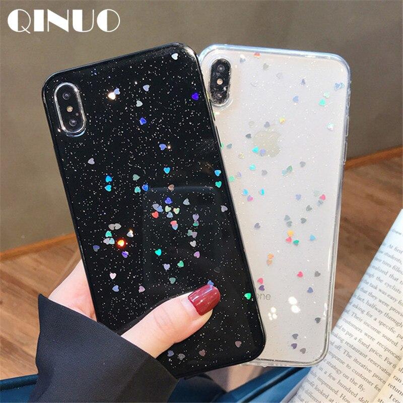 Ucuz QINUO Sevimli Glitter Bling iphone için kılıf 6 6 s 7 8 Artı Parlak  Epoksi 06f21f7bb56b